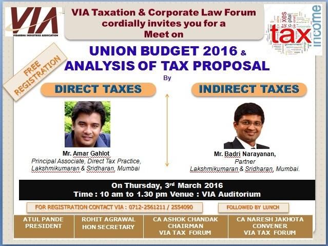 Union Budget 2016 & Analysis of Tax Proposal 03.03.2016